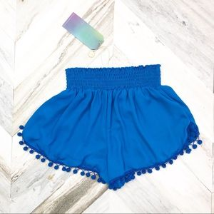 NWT Show Me Your MuMu Sammy Pom Pom Shorts Blue